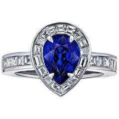 2.73 Carat Pear Shape Blue Sapphire and Diamond Platinum Ring