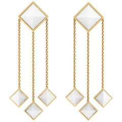 Ferrucci White Agate Pyramids Dangling 18 Karat Yellow Gold Earrings