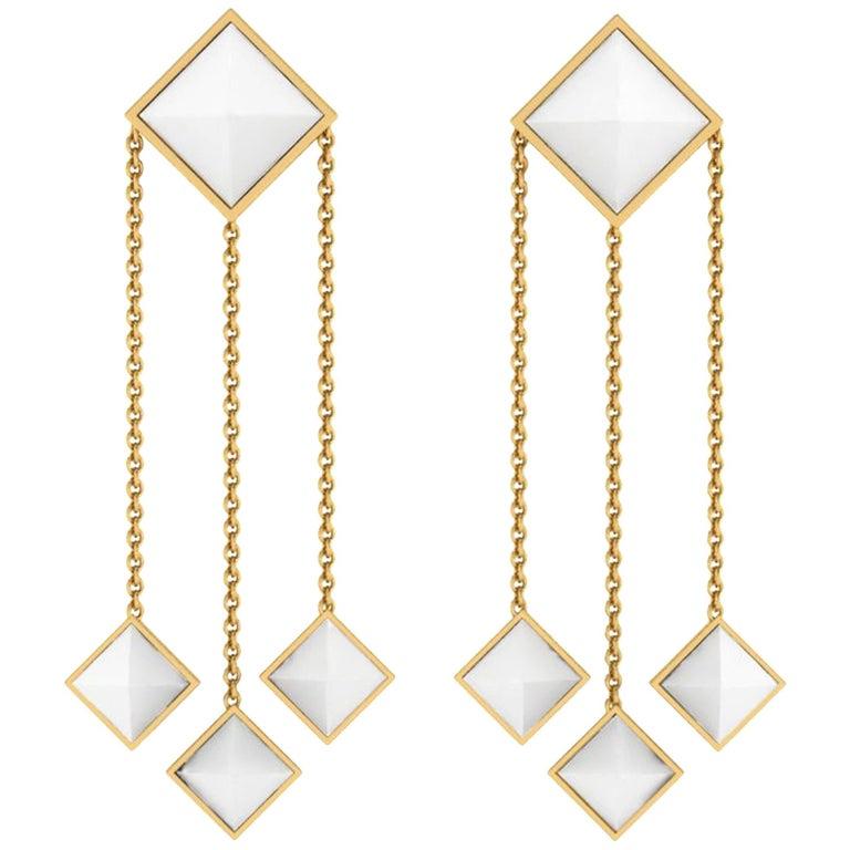 Ferrucci White Agate Pyramids Dangling 18 Karat Yellow Gold Earrings