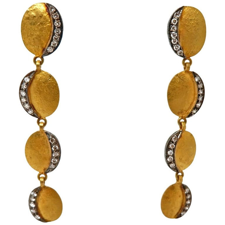 Dancing Apsara Diamond Yellow Gold and Silver Dangle Earrings