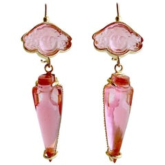 Bacchus Rose Venetian Glass Cameo Intaglio Earrings
