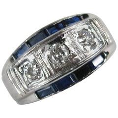 1930s 14 Karat White Gold Diamond Ring Unisex