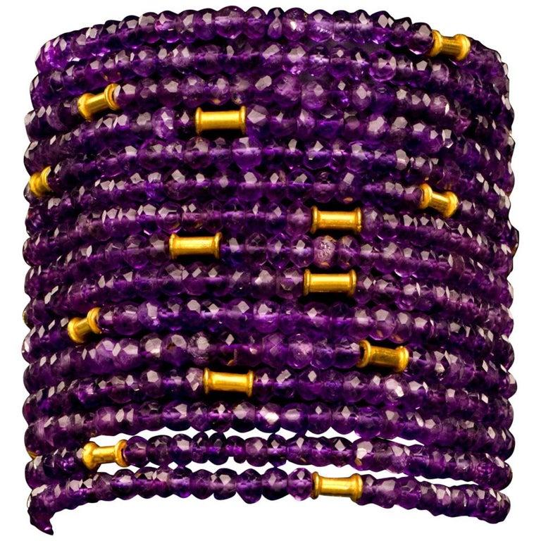 Gold and Amethyst Cuff Bead Bracelet