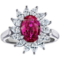 2.87 Carat Oval Ruby and Diamond Platinum Ring