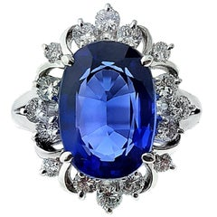 5.07 Carat Tanzanite and Diamond Platinum Ring
