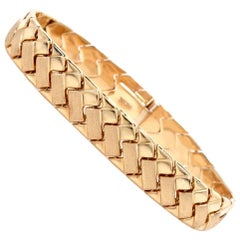 Italian Fancy Link Matted and Polished Yellow Gold Bracelet