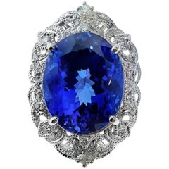 18.03 Carat Tanzanite and Diamond Platinum Ring