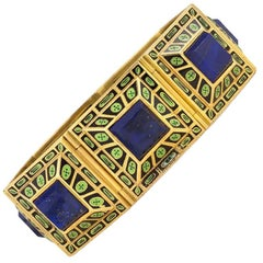 19th Century Archaeological Revival Gold, Lapis and Enamel Bracelet