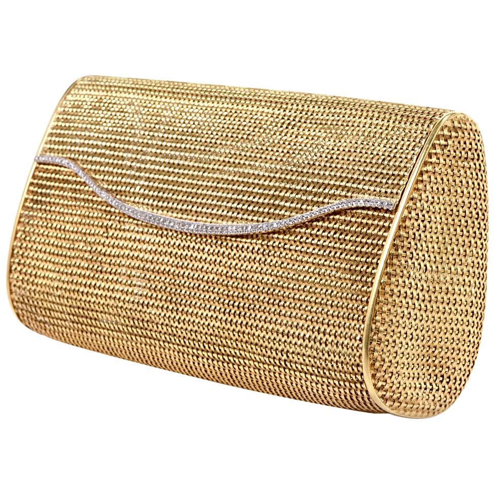 1960s Classic 18 Karat Mesh Gold and Diamond Clutch Handbag