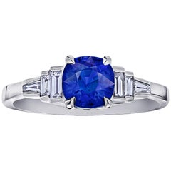 1.44 Carat Cushion Blue Sapphire and Diamond Platinum Ring