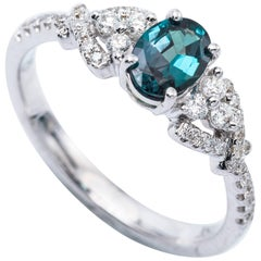 Oval Alexandrite White Gold Ring with Certificate