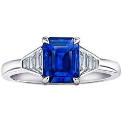 3.01 Carat Emerald Cut Blue Sapphire and Diamond Platinum Ring