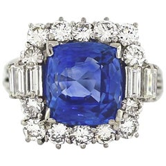 AGL Certified No Heat Ceylon Sapphire 7 Carat Cushion Cut Ring