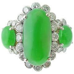 Three-Stone Jade and Diamond Platinum Cocktail Ring