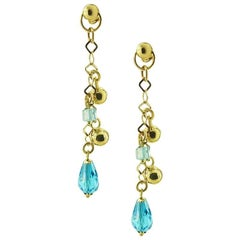 Yellow Gold Drop with Blue Topaz Earrings