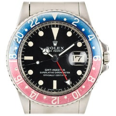 Rolex Stainless Steel GMT-Master Vintage Pepsi Bezel Automatic Wristwatch