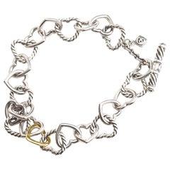 1990s David Yurman Sterling Silver and 18 Karat Gold Cable Heart Link Bracelet