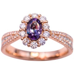 Oval Alexandrite Rose Gold Ring with Certificate