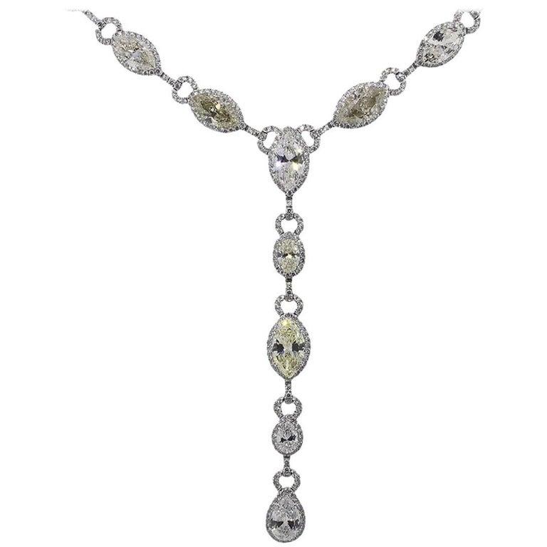 27.83 Carat Total Diamond Drop Lariat Necklace