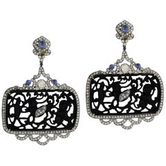 Black Jet Earring with Diamonds