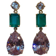 Michael Kneebone Sapphire Emerald Topaz Drop Earrings