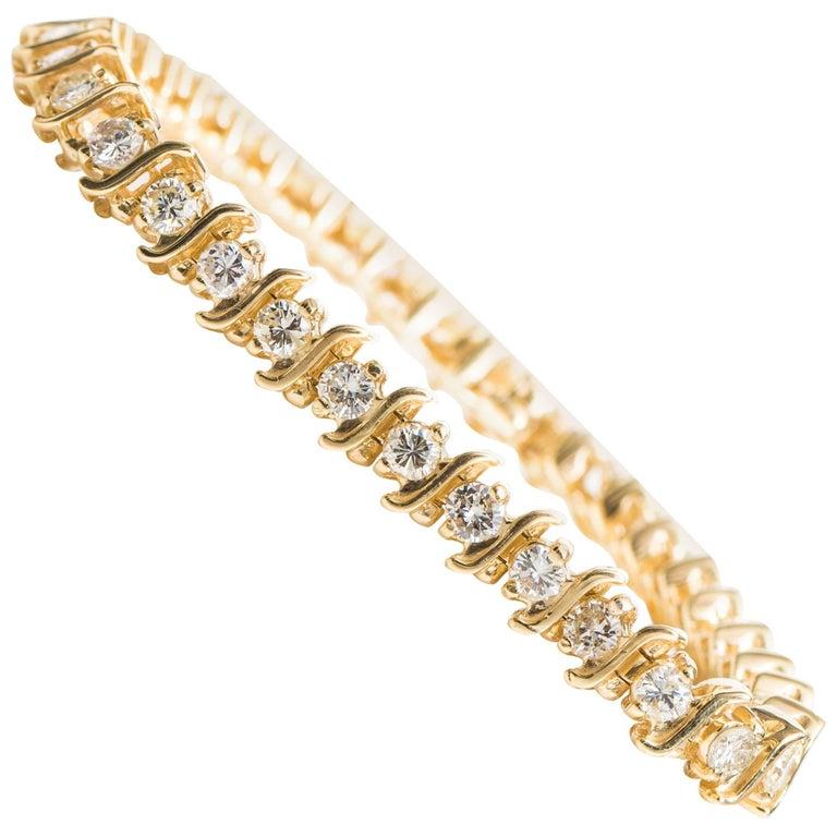 6 Carat Diamond And 14 Karat Gold S Link Tennis Bracelet For