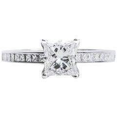 1.03 Carat Princess Cut Diamond and 14 Karat White Gold Engagement Ring