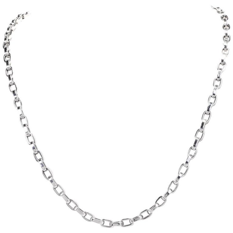 Italian High Polish White Gold Link Chain Necklace