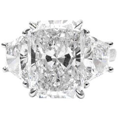 GIA Certified D Color 7.05 Carat Total Radiant and Trapezoid  Diamond Ring