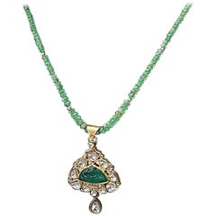 Carved Emerald Necklace with Polki Diamonds