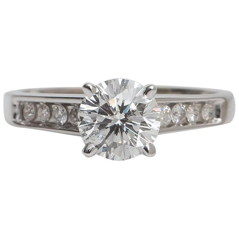 1.02 Carat Round Brilliant Diamond and 14 Karat White Gold Engagement Ring