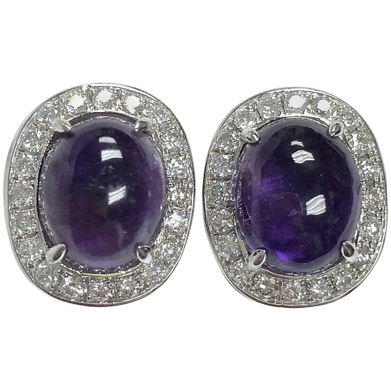 Amethyst and Diamond White Gold Stud Earrings