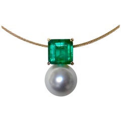 Michael Kneebone Emerald Paspaley South Seas Pearl Pendant