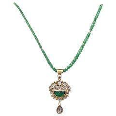 Carved Emerald with Diamonds Necklace