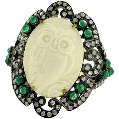 Owl Cameo Ring with Diamonds and Emeralds