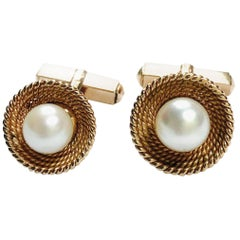Pearl and Yellow Gold Cufflinks