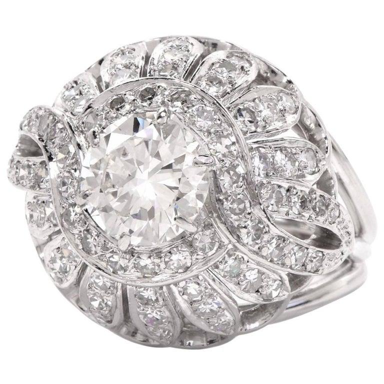 1960s Diamond Platinum Cocktail Dome Ring