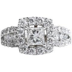 2 Carat Princess and Round Diamond Halo 14 Karat White Gold Engagement Ring
