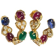 Emerald Ruby Sapphire and Diamond Yellow Gold Large Hoop Earrings