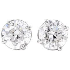 1.75 Carat Total Diamond Platinum Stud Earrings
