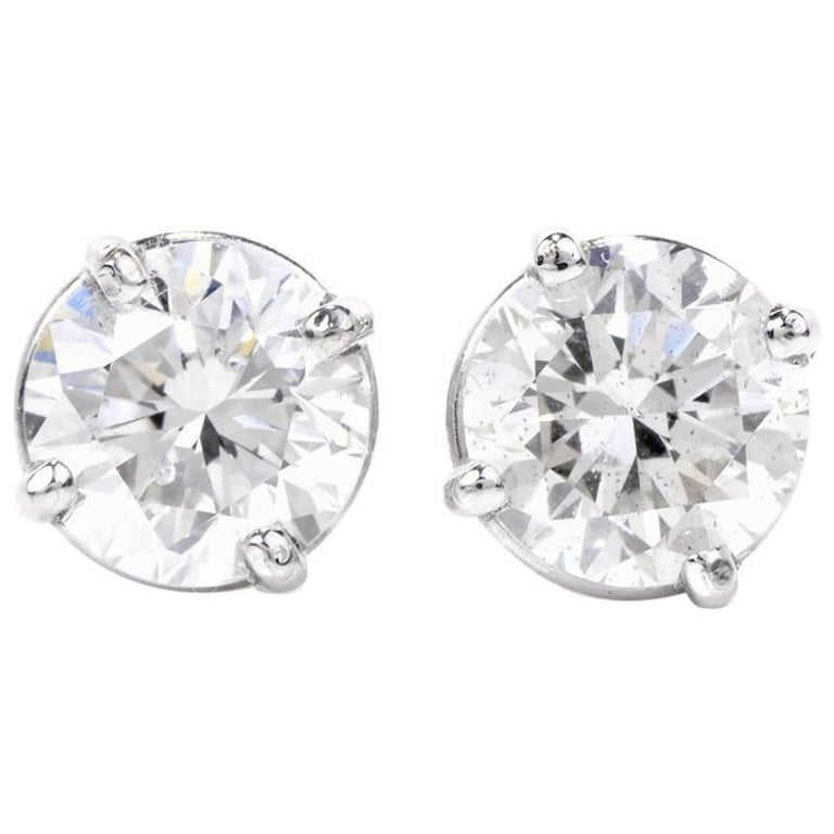 1 carat stud earrings sale 1 75 carat total platinum stud earrings for sale 3963