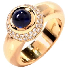 21st Century Chopard Sapphire Diamond Yellow Gold Love Ring Ref. 9683455
