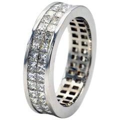 Invisible-Set Princess-Cut Diamond White Gold Wedding Ring