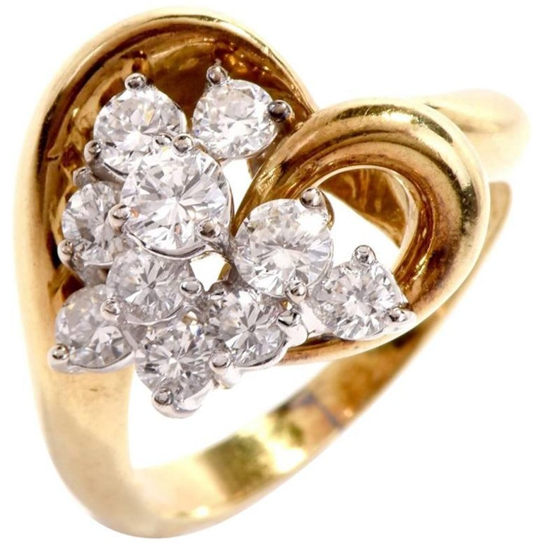 1980s Diamond Cluster Heart Cocktail Ring