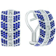 Éros Diamond and Sapphire White Gold Earrings