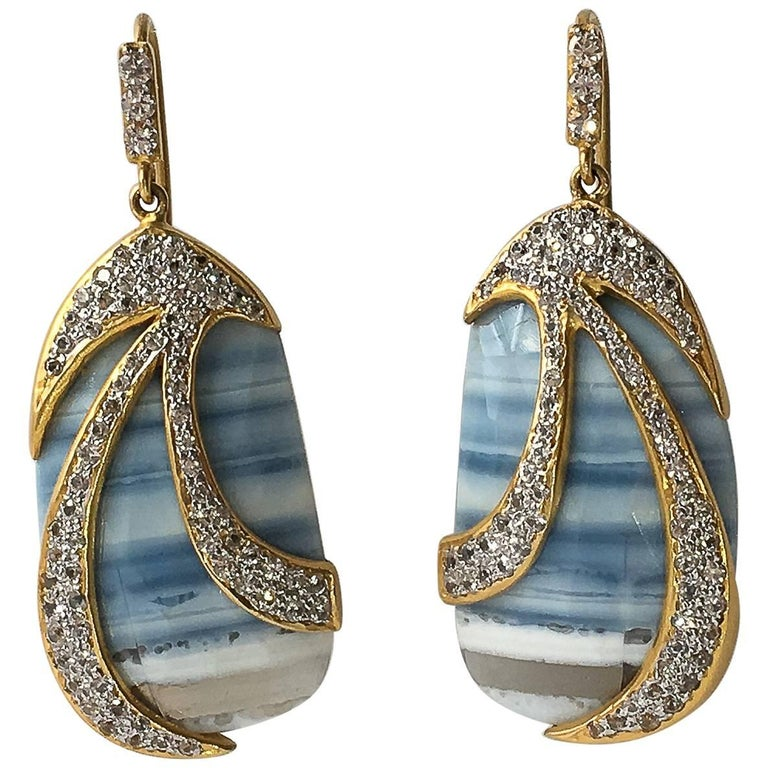 Lauren Harper Collection African Opals, Sapphires, 18 Karat Gold Drop Earrings