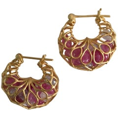 Lauren Harper Pink Sapphire Gold Hoop Earrings