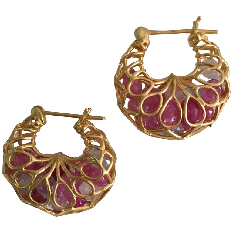 Lauren Harper Pink Sapphire Gold Hoop Earrings