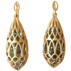 Lauren Harper Sapphire Gold Pear Drop Earrings