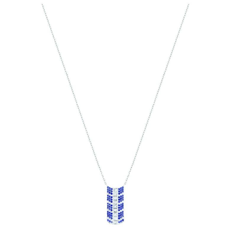 Éros Diamond and Sapphire White Gold Pendant